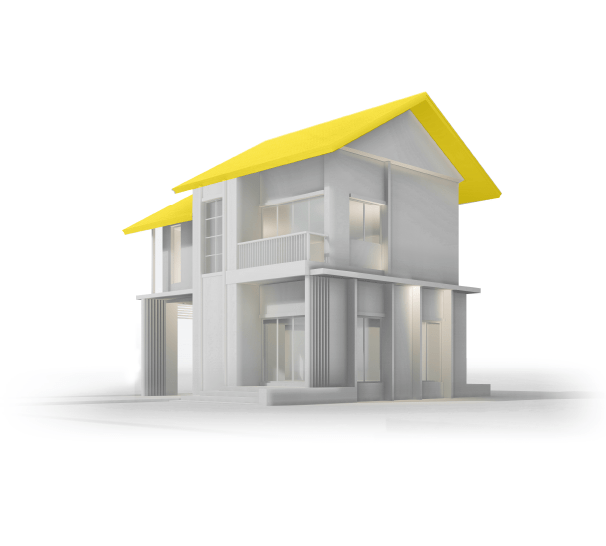 Model of modern home with yellow roof