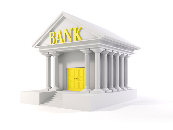Model bank with yellow door