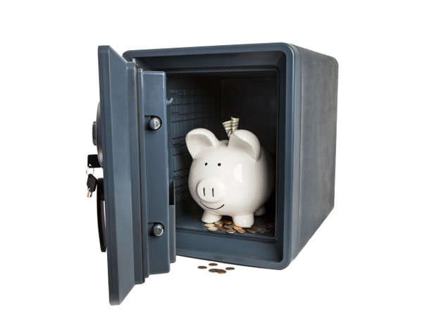 Piggy bank in safe