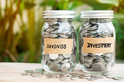 Money jar for savings and investments