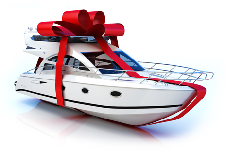 Holiday ribbon wrapped white small yacht.